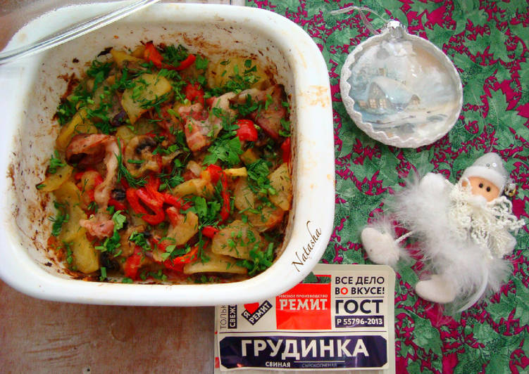 Картофель с овощами, шампиньонами и грудинкой от Ремит