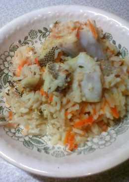 Макрурус тушеный с рисом и овощами