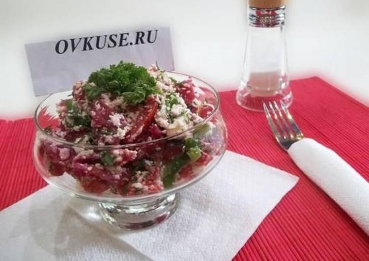 Салат из вареной свеклы и творога