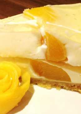 Йогуртовый торт с фруктами, фруктовый торт из печенья без выпечки с желатином