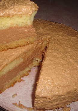 Бисквитный торт с творожно - шоколадным суфле