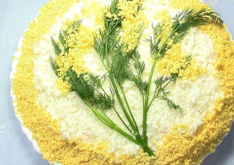 Салат «Мимоза» с сыром