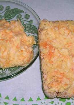 Паста из копченого колбасного сыра, моркови и чеснока