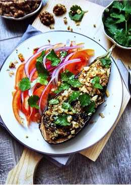 Рецепт фаршированного баклажана с грибами, орехами и кускусом