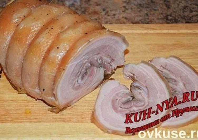 Приготовление свиного рулета из брюшины