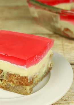 Торт без выпечки с желе, заварным кремом и сухариками