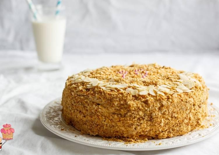 Домашний медовый торт с заварным кремом