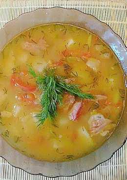 Гороховый суп с копченостями без замачивания гороха