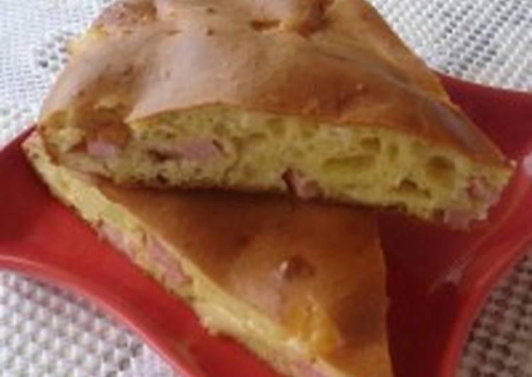 Пирог с сыром и ветчиной «Пятиминутка»