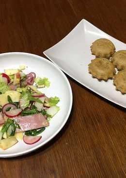 """""""Хлеб на пиве и салат с овощами сыром и ветчиной"""" или """"Ploughman's lunch"""" или """"Обед пахаря"""""""