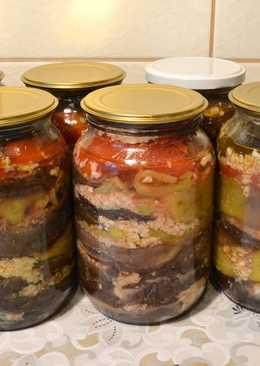 Баклажаны с перцем в чесночном соусе. Рецепт на зиму