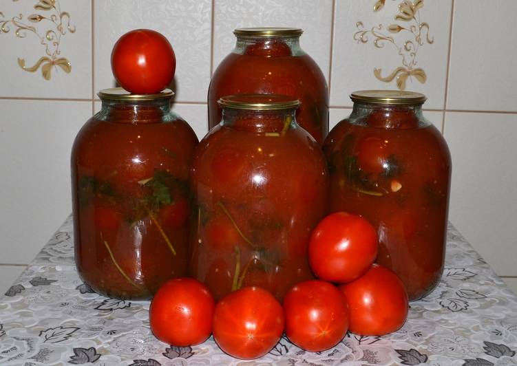 Помидоры в томатном соке