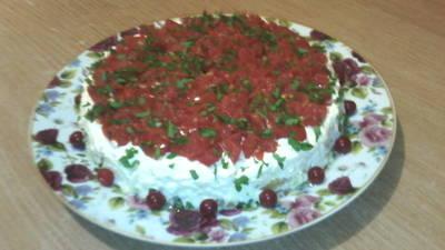 Салат слоёный с баклажанами