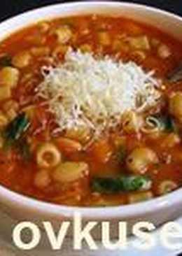 Итальянский густой фасолевый суп с макаронами