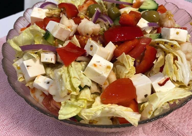 Салаты греческий с креветками рецепты с фото
