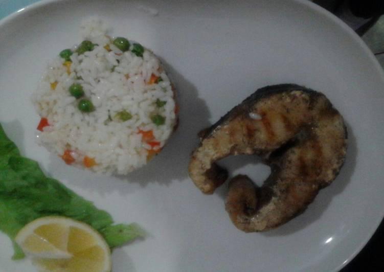 Рецепт рыбы с рисом и овощами