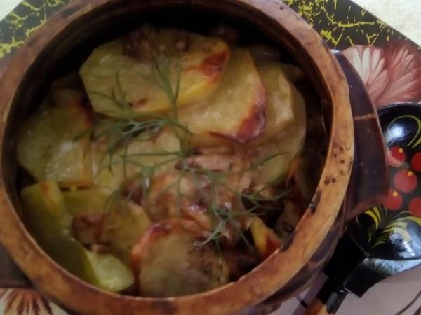 Белые грибы с картофелем в горшочках #непп