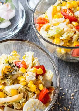 Овощной салат с кальмарами и кунжутно-коньячной заправкой
