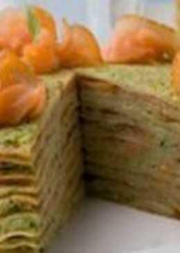 Блинный торт с авокадо и семгой