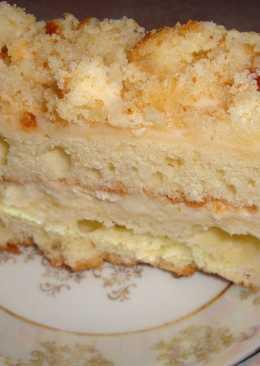 """Торт """"Сметанник"""" с лимонным кремом на манке"""
