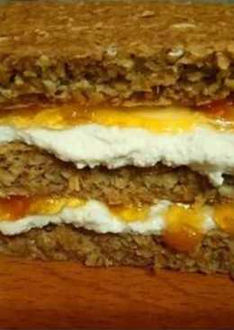 Овсяный тортик с творожно-абрикосовым кремом