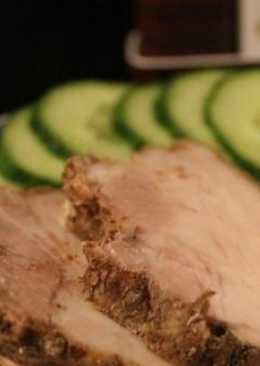 Свиная прослойка, запеченная в аэрогриле, А-ля буженина
