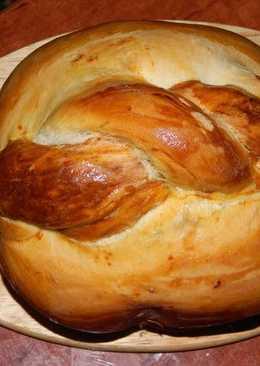 Домашний вкусный хлеб с узором, испеченный в хлебопечке