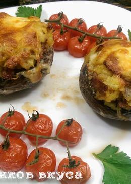 Фаршированные шампиньоны картофелем и беконом