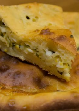 Вкуснейший заливной пирог с луком и яйцом на нежирном тесте