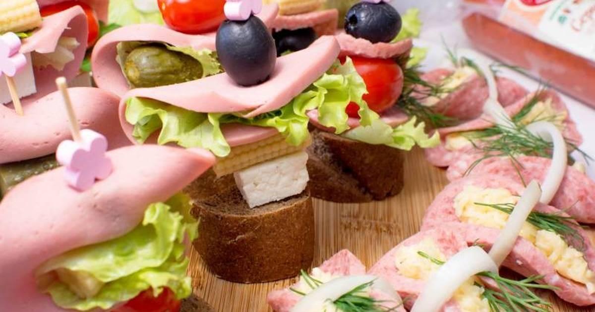 Красивые бутерброды с колбасой