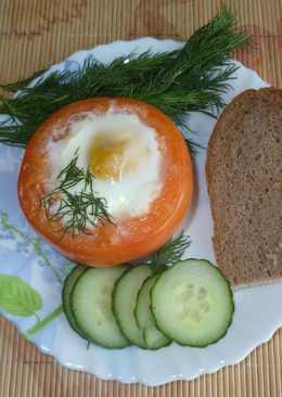 Яичница с сыром в помидоре - быстрый завтрак в выходной
