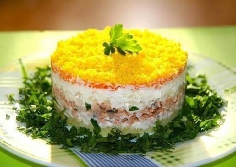Пошаговый фото рецепт салат с консервой