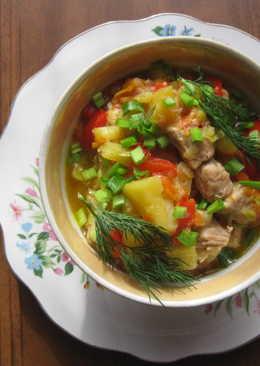 Свинина с овощами в сковородке ВОК
