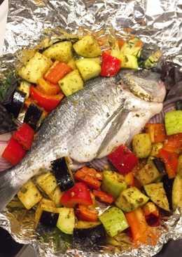 Дорадо с овощами в духовке