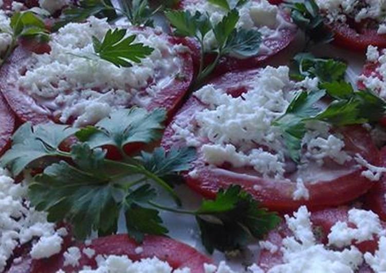 Закуска помидоры с брынзой -красиво и вкусно.Оригинальная закуска за 5 минут