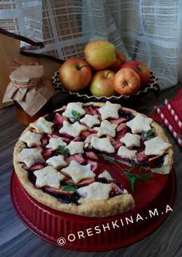 Постный пирог с яблоками и вареньем