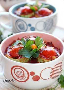 Кабачки фаршированные чечевицой и овощами