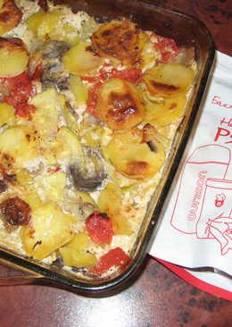Картошка с грибами в соусе из ряженки