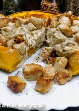 Запеченная тыква с мясом и грибами