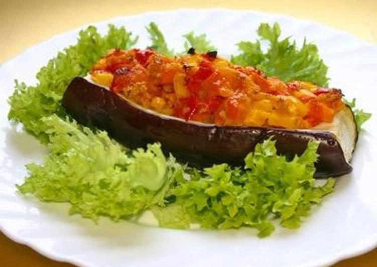 Овощи, запеченные в баклажане