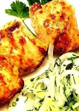 Шашлык из курицы в маринаде с горчицей и чесноком
