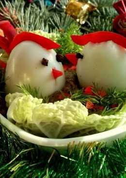 Закуска «Петушки» из яиц