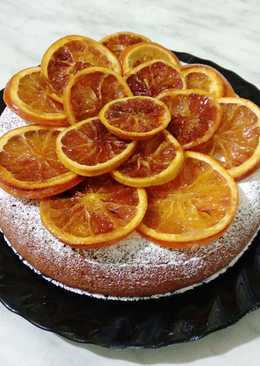 Лимонный кекс с апельсинами в карамели
