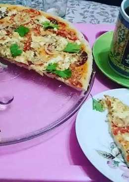 Пицца 🍕 в микроволновке за пять минут. #кулинарныймарафон