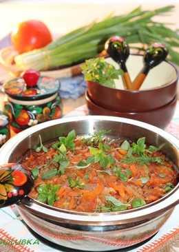 Овощное соте с чесночным соусом