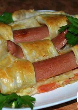 Открытый пирог с сосисками, помидорами и сыром#чемпионатмира#россия