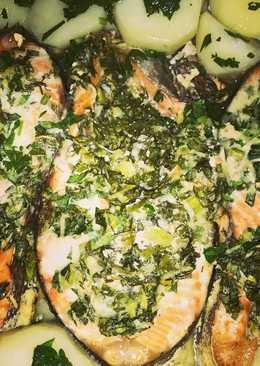 Стейк из семги в сливочном соусе