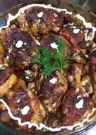 Куриные ножки с грибами, картофелем в чесночно - сливочном соусе