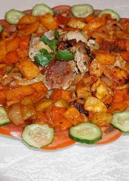 Шашлык с овощами в духовке