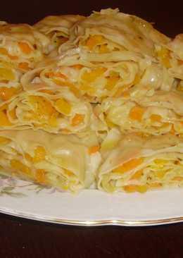 Паровой рулет «Ханум» из тыквы-рецепт узбекской кухни.!Вкусное,нежное блюдо